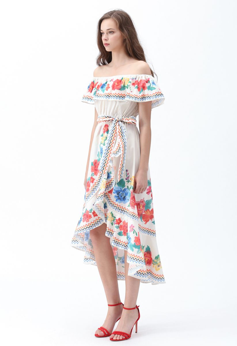 You'll See Floral Asymmetric Waterfall Dress