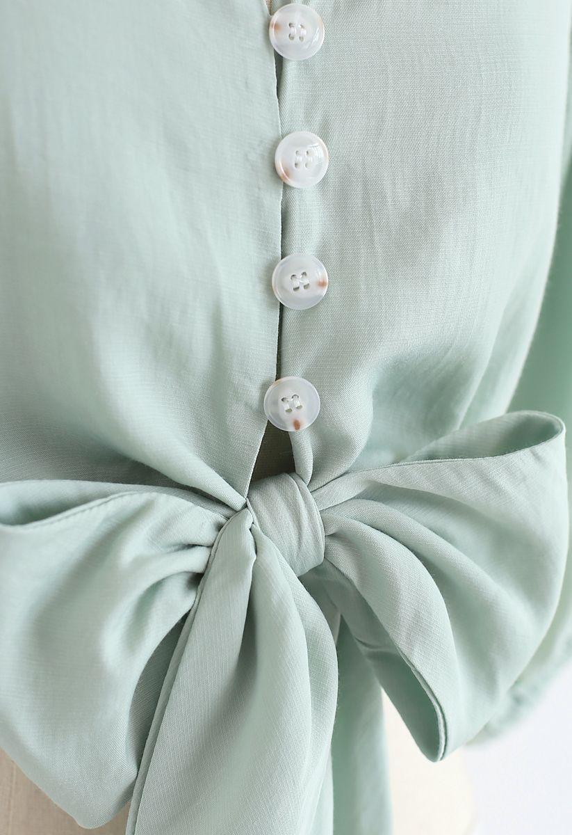 Sweet and Sound Bowknot Crop Top in Mint