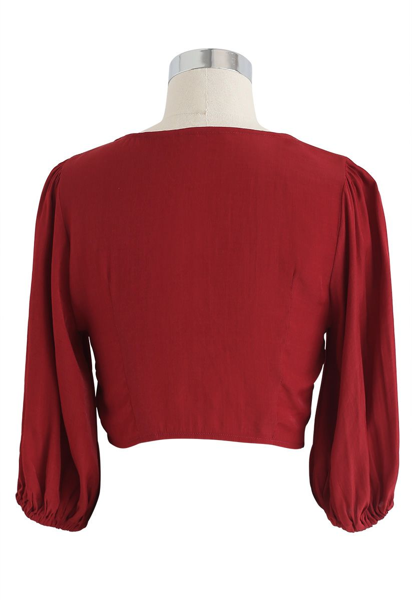 Sweet and Sound Bowknot Crop Top in Red