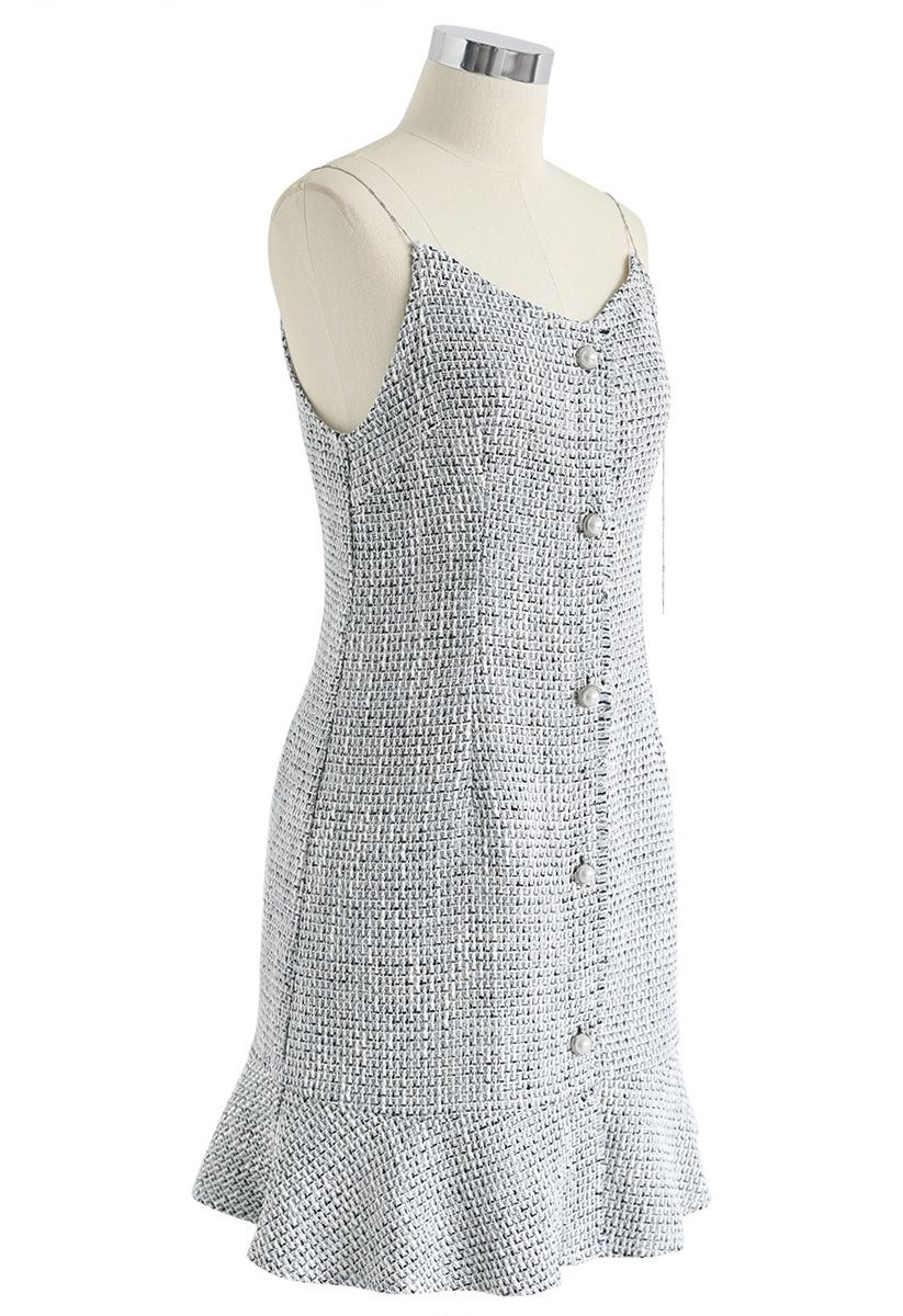 It's Gonna Be Tweed Cami Dress in Grey