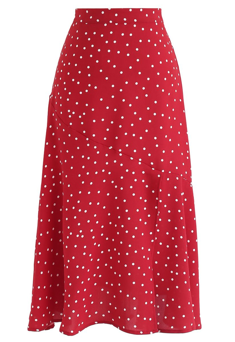Get It Started Polka Dots Midi Skirt in Red