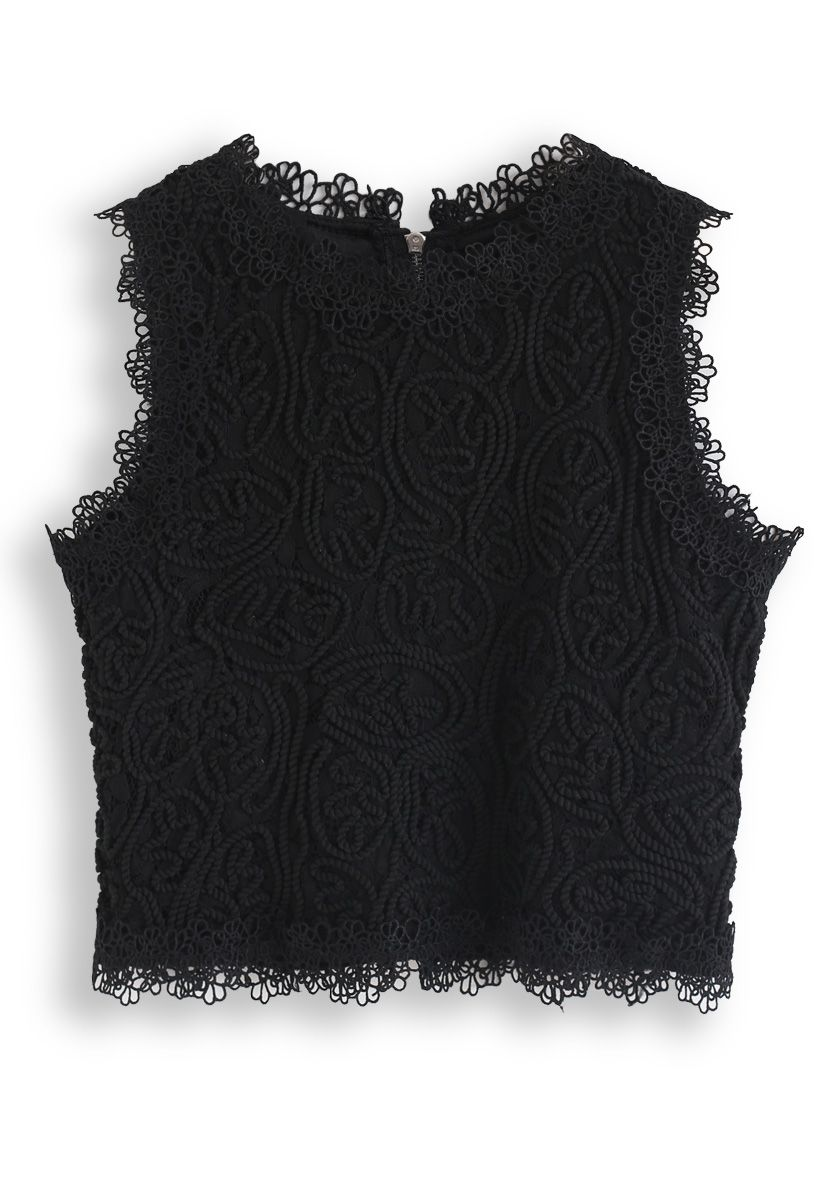 Diva Full Lace Crop Top in Black