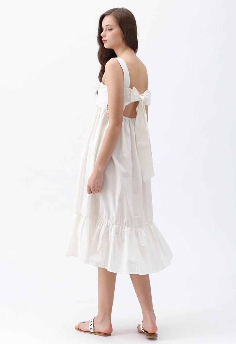 Joyful Aspects Backless Midi Dress in White