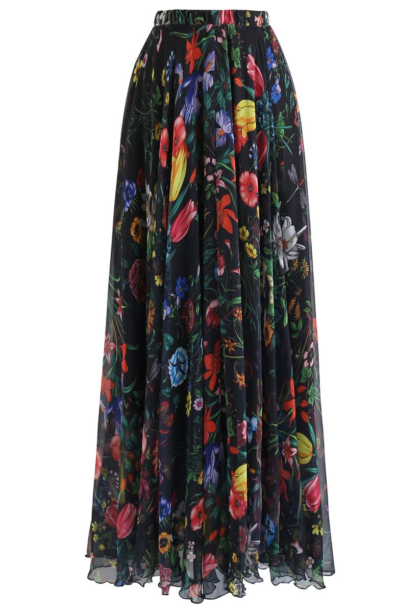 Tropical Flowering Watercolor Maxi Skirt in Black