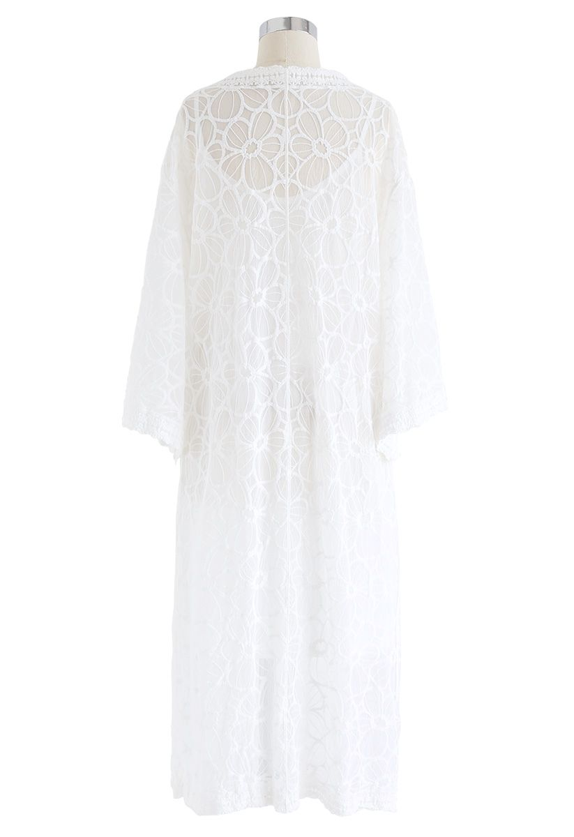 Keep Cool Embroidered Mesh Longline Kimono
