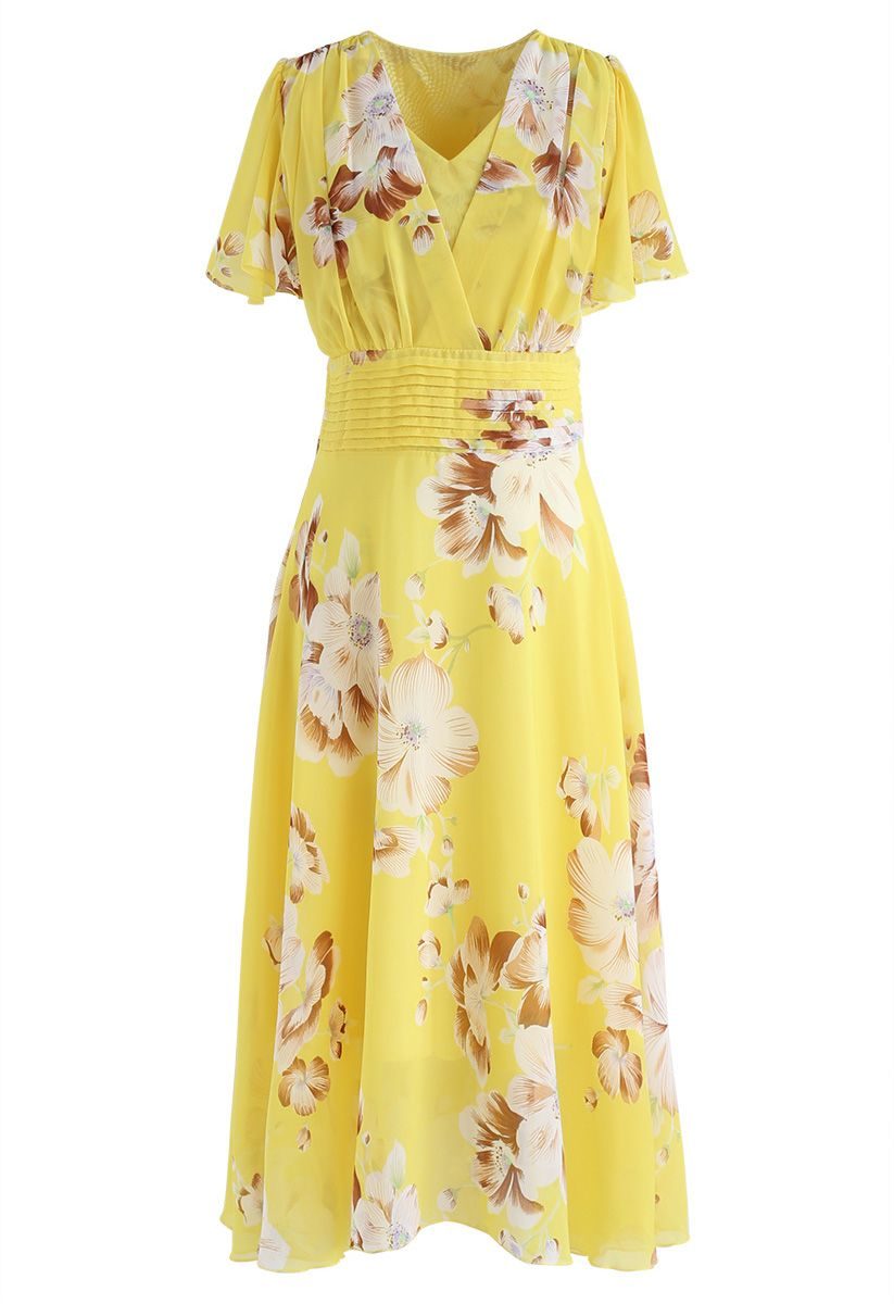 Sweet Surrender Floral Chiffon Dress in Yellow