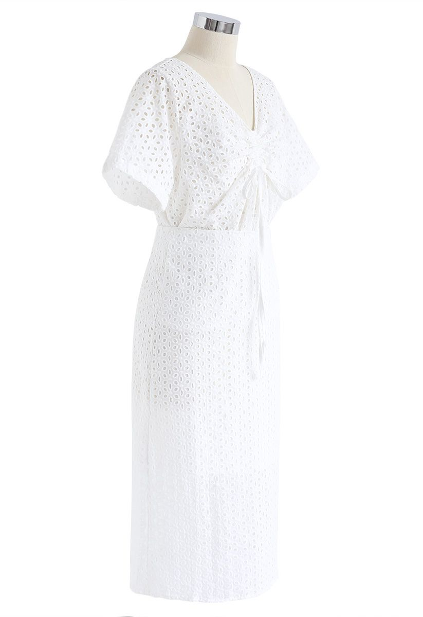 Starry Night Embroidered Eyelet Top and Skirt Set in White