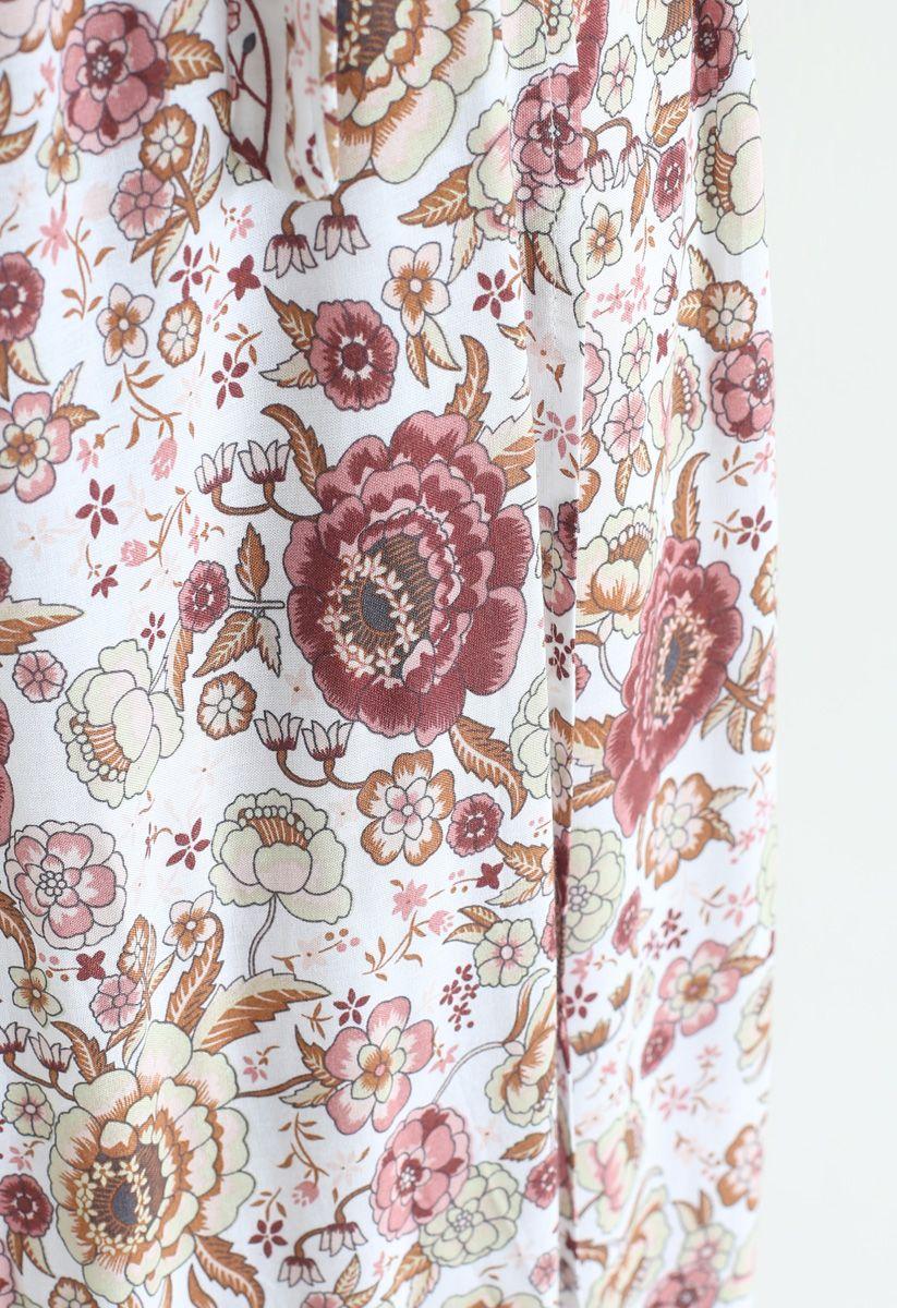 Boho Vibrant Floral Wrap Maxi Dress in Ivory