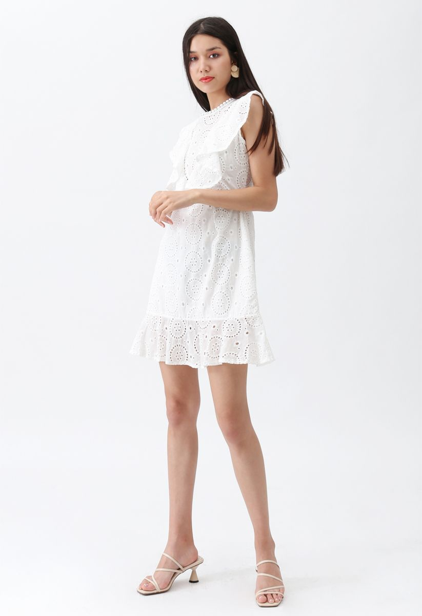 High Spirits Embroidered Ruffle Dress in White