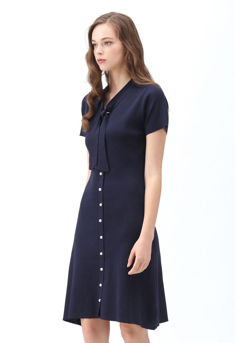 Something Real Knit Midi Dress in Navy