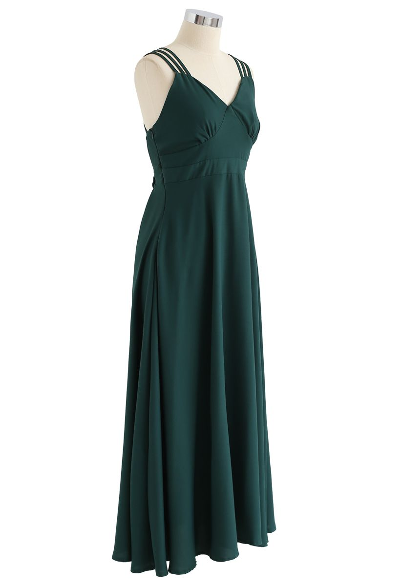 Perfect Sunday Cross Back Cami Dress in Green