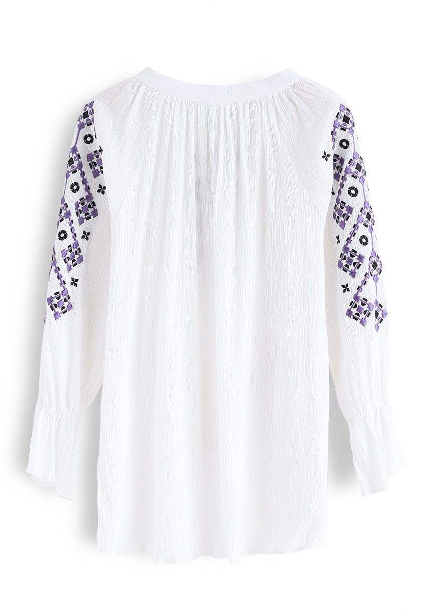 Boho Bambi Embroidered Top in White