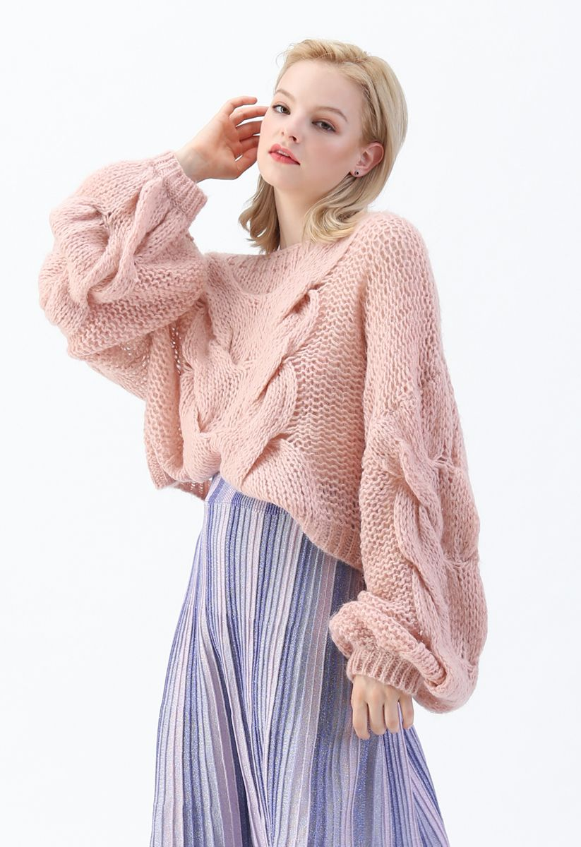 Romantic Knit Vintage Puff Sleeve Knit