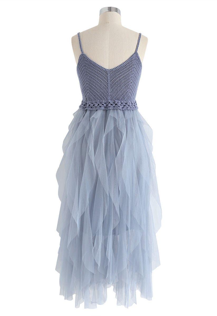 Knit Ruffled Mesh Cami Dress in Blue