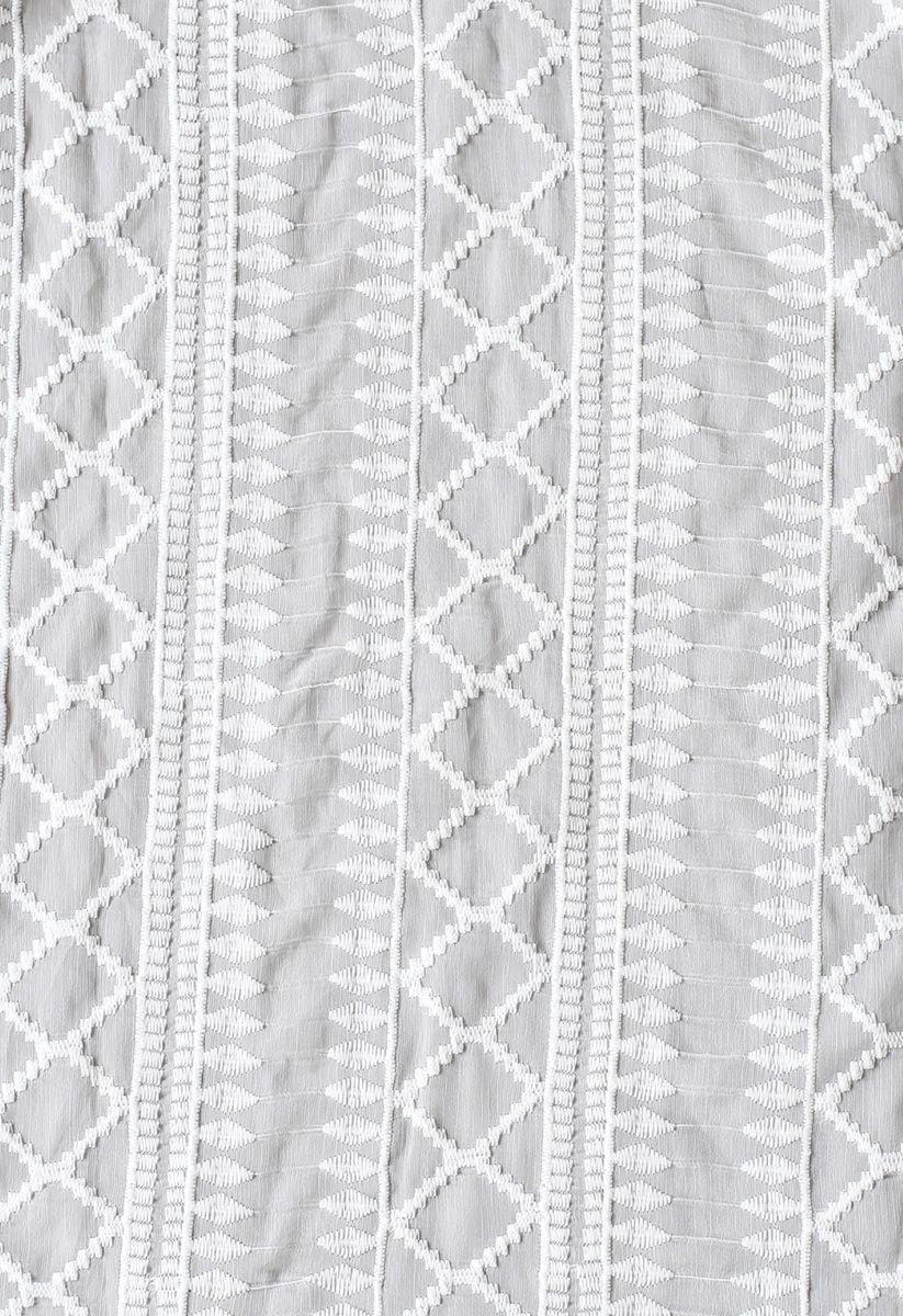 Tassels Hem Open Front Sheer Kimono