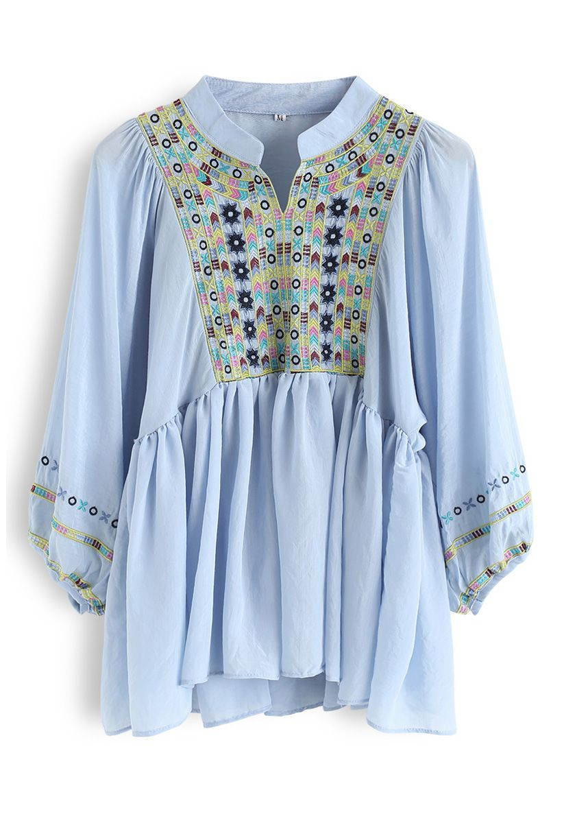 Puff Sleeves Boho Embroidered Dolly Top in Blue