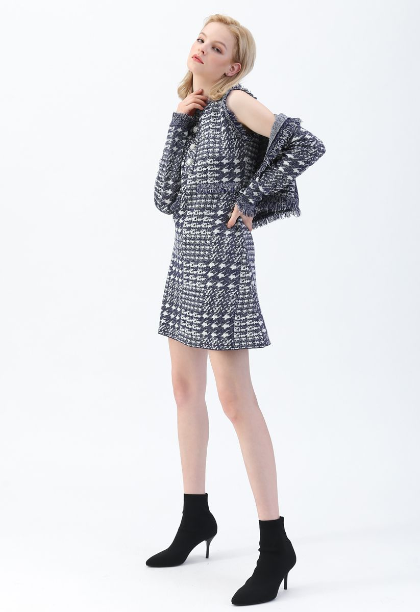 Contrast Houndstooth Pattern Crop Cardigan in Navy
