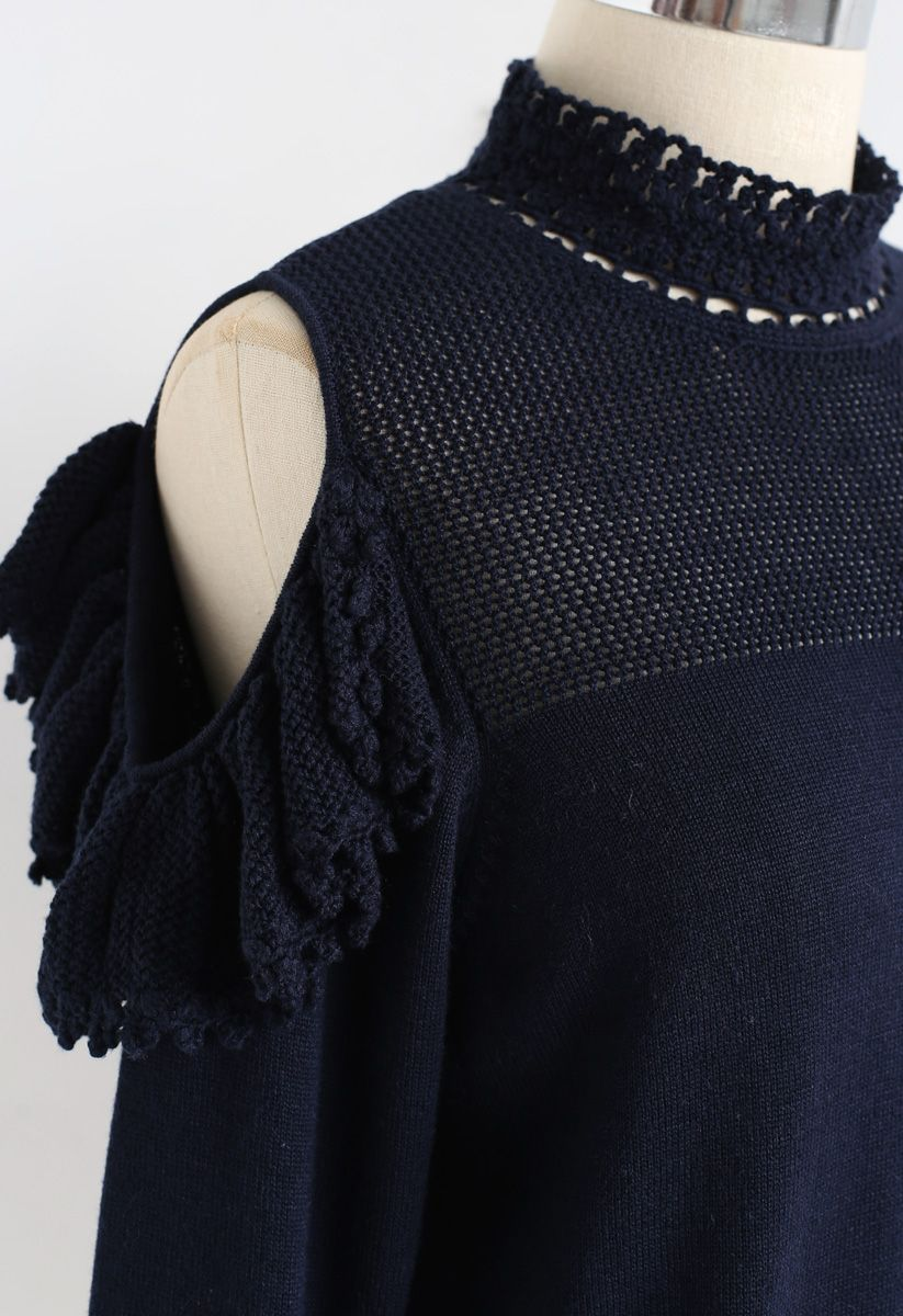 Hand Knit Crochet Cold-Shoulder Knit Top in Navy