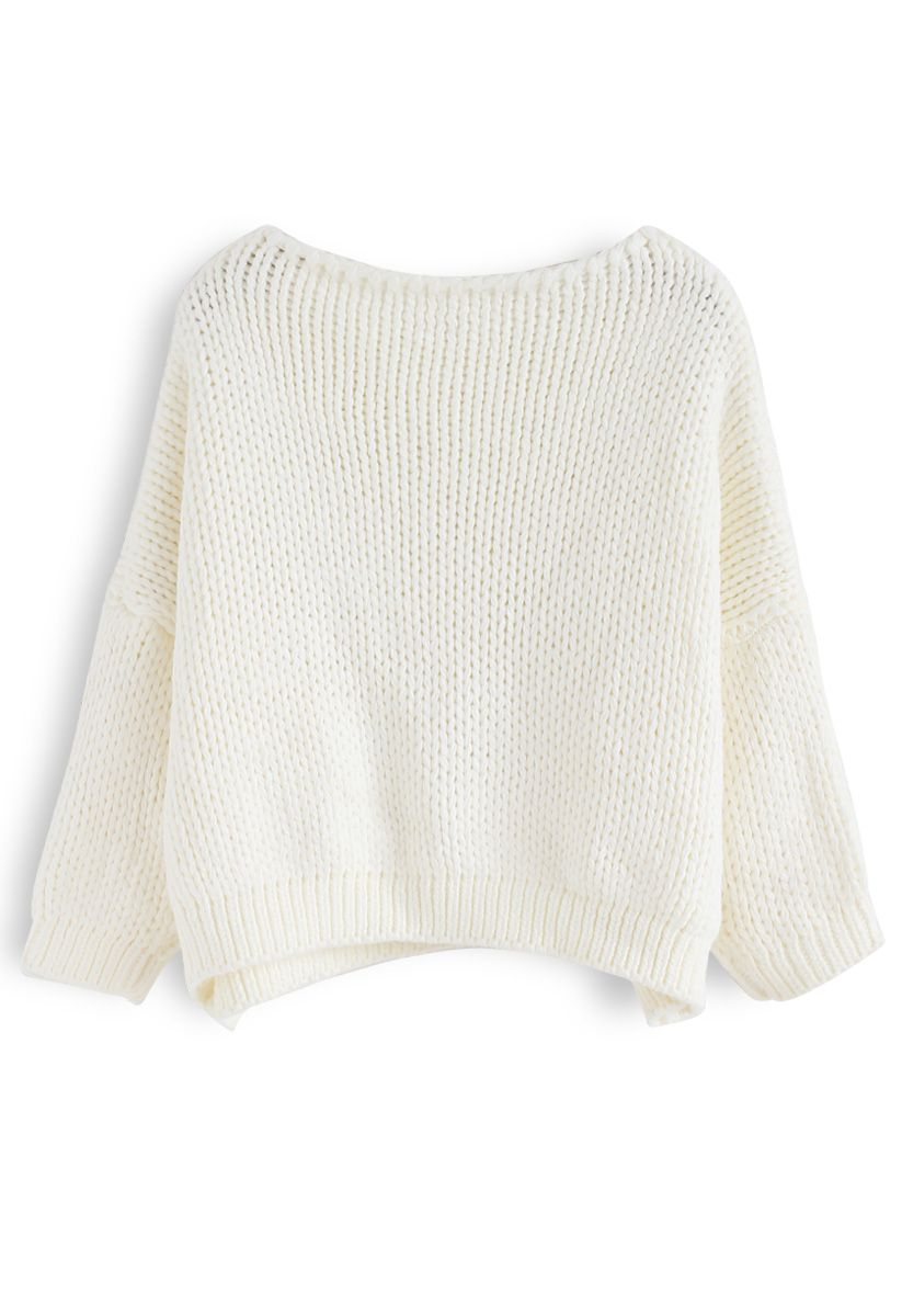 The Other Side of Chunky Hand Knit Sweater in White