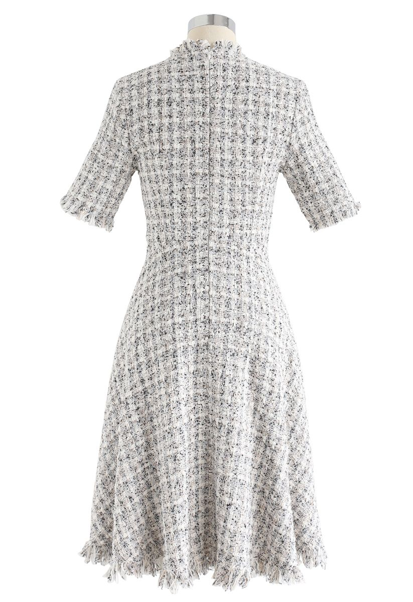 Raw Edges Textured Tweed Midi Dress