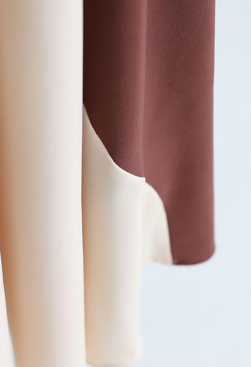 Multicolor Asymmetric A-Line Midi Skirt