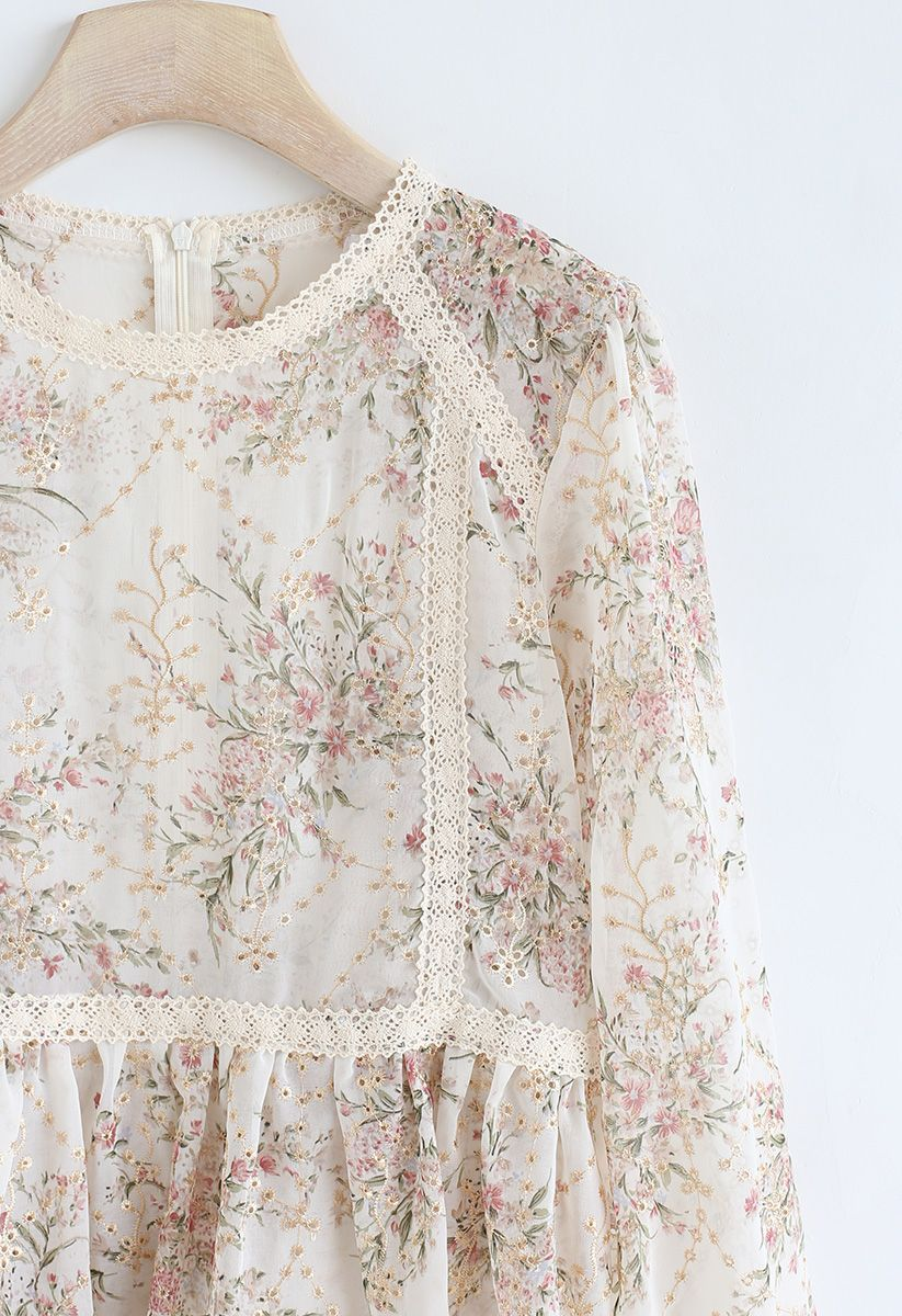 Bouquet Printed Eyelet Embroidered Peplum Top in Cream
