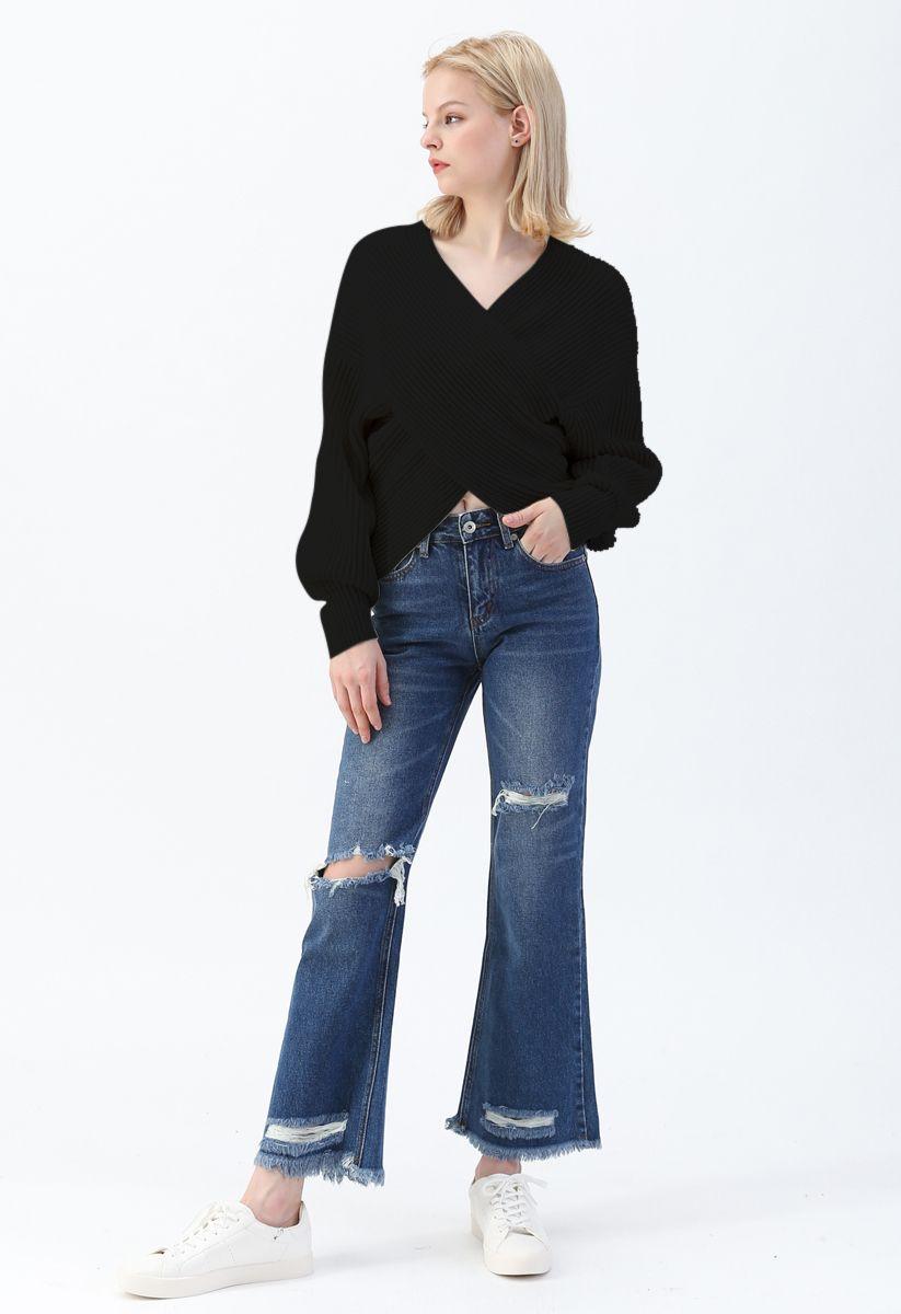 Crisscross Ribbed Knit Crop Sweater in Black