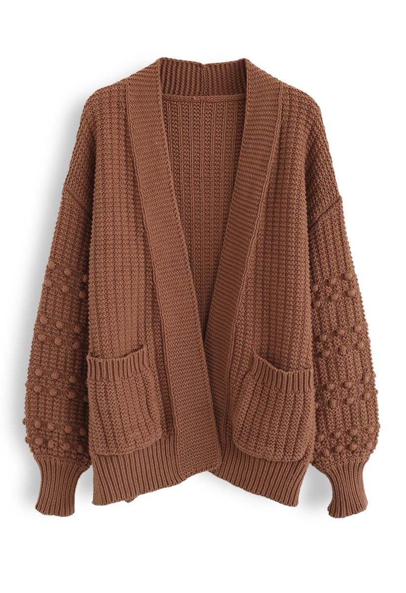 Bubble-Sleeve Pockets Cardigan with Pom-Pom Detail in Caramel