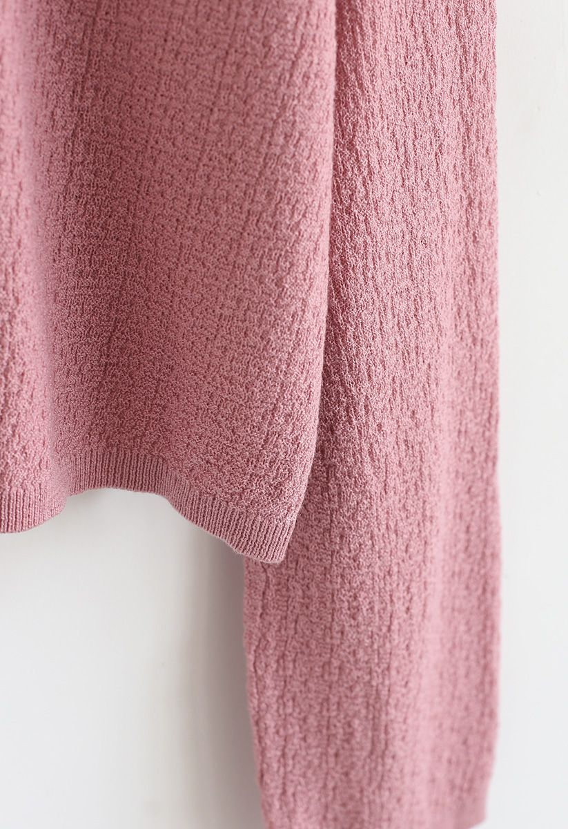 Basic Texture Knit Top in Pink