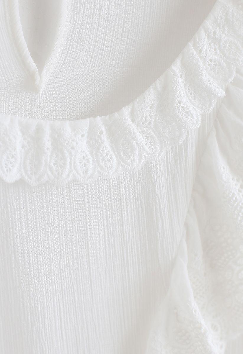 Embroidered Ruffle Trim Semi-Sheer Top