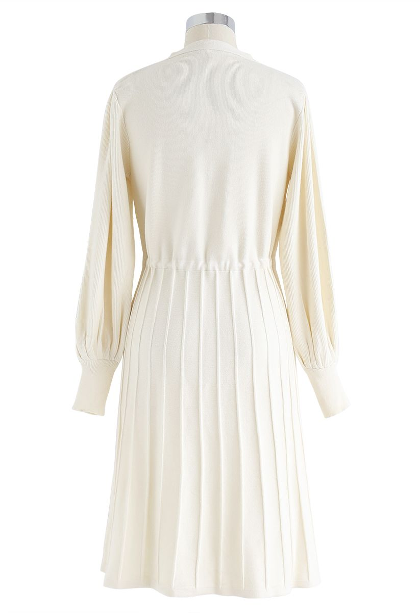 Puff Sleeves Drawstring Pleated Knit Midi Dress in Cream