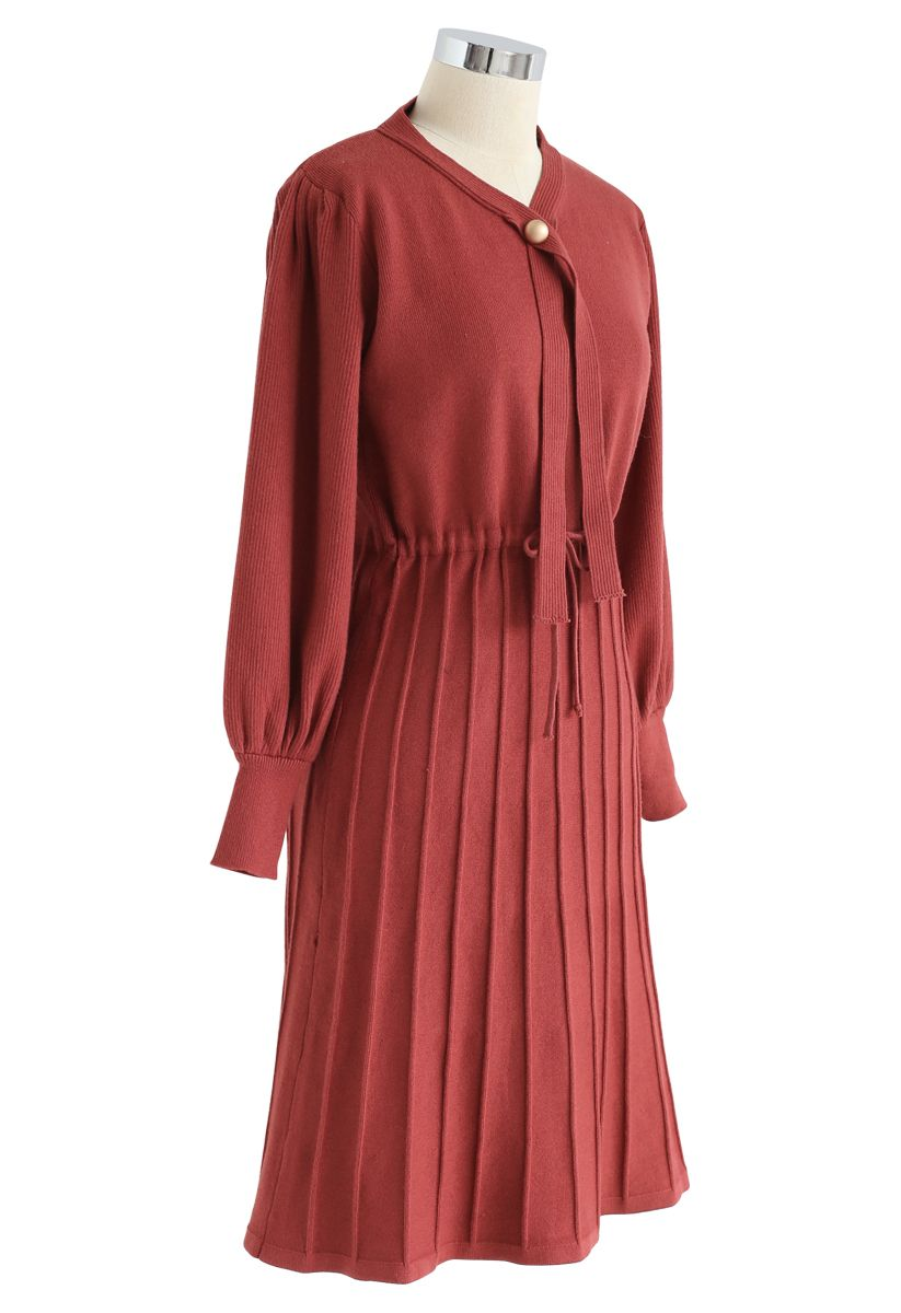 Puff Sleeves Drawstring Pleated Knit Midi Dress in Red