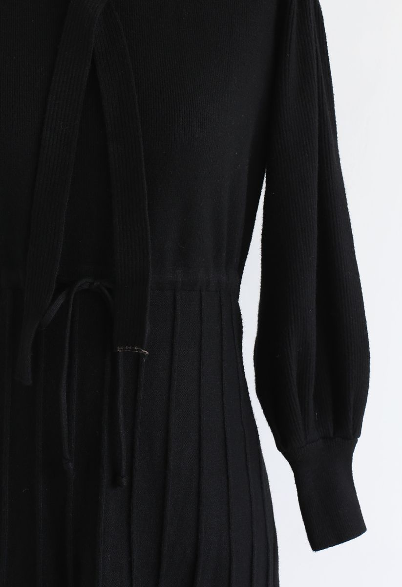 Puff Sleeves Drawstring Pleated Knit Midi Dress in Black