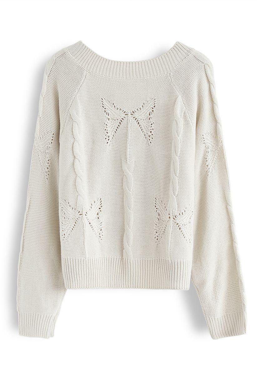 V-Neck Pom-Pom Cable Knit Sweater in Ivory