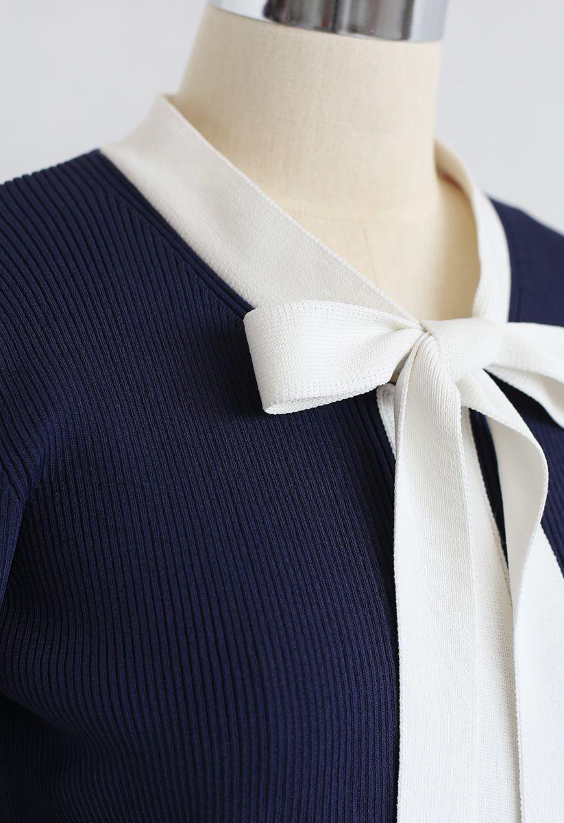 Bowknot Long Sleeves Knit Dress in Navy