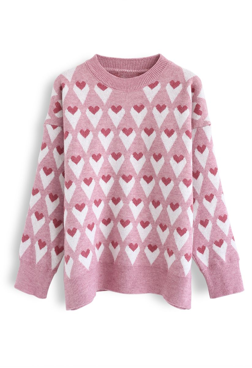 Heart Print Round Neck Sweater in Pink