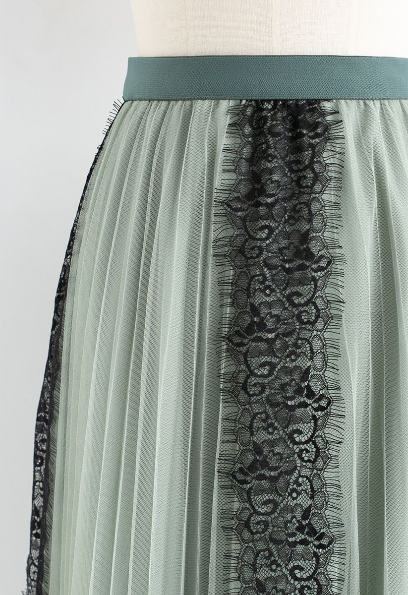 Lace Trim Mesh Tulle Midi Skirt in Mint