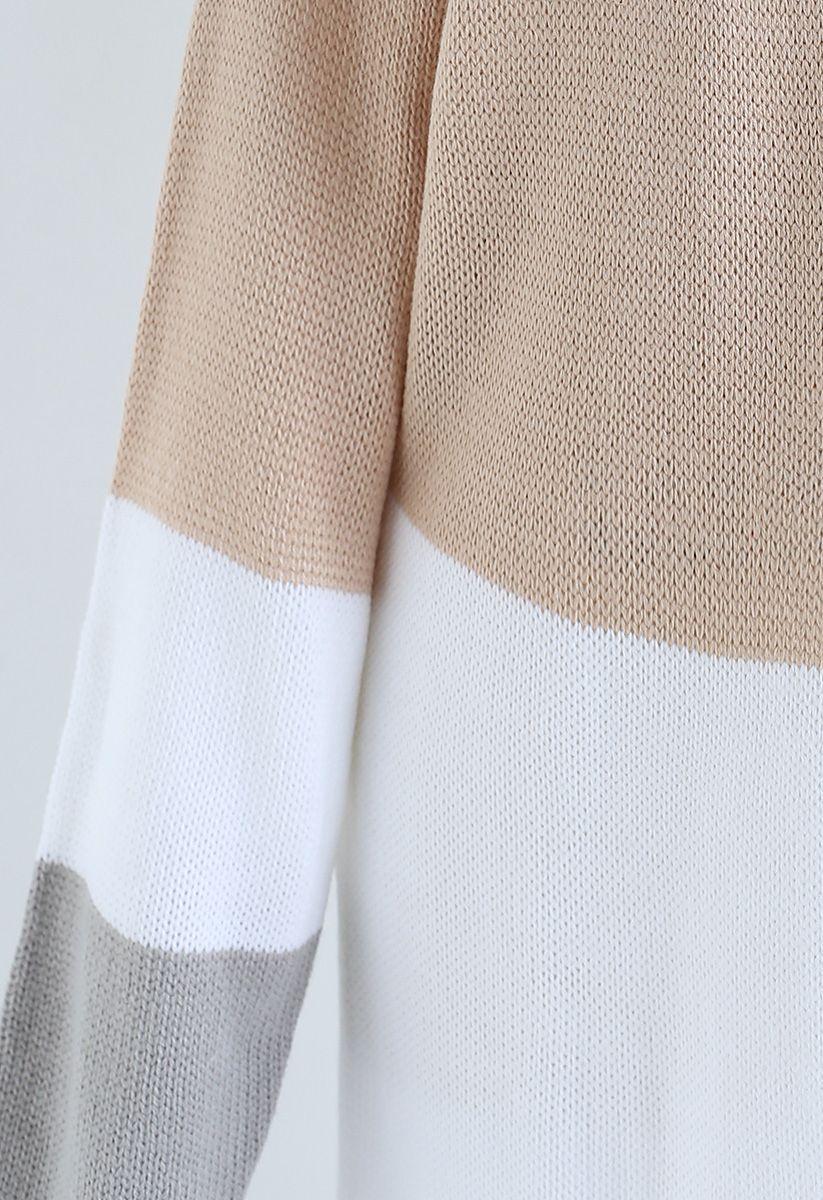 Color Blocked Longline Knit Cardigan in Light Tan