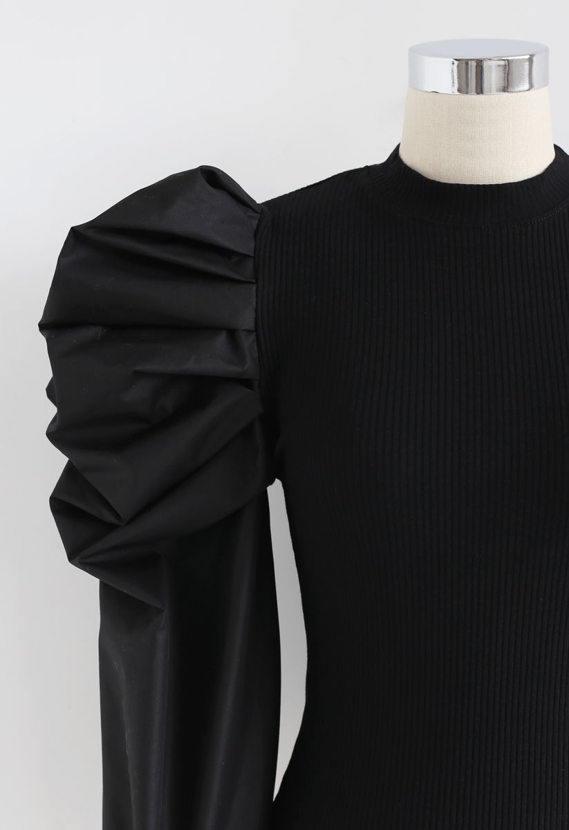 Dramatic Bubble-Sleeves Knit Top in Black