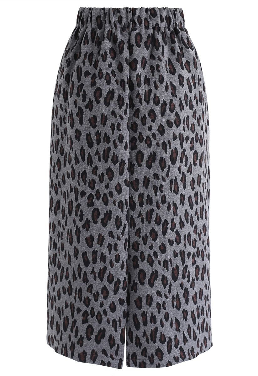 Tender Leopard Knit Pencil Midi Skirt in Smoke