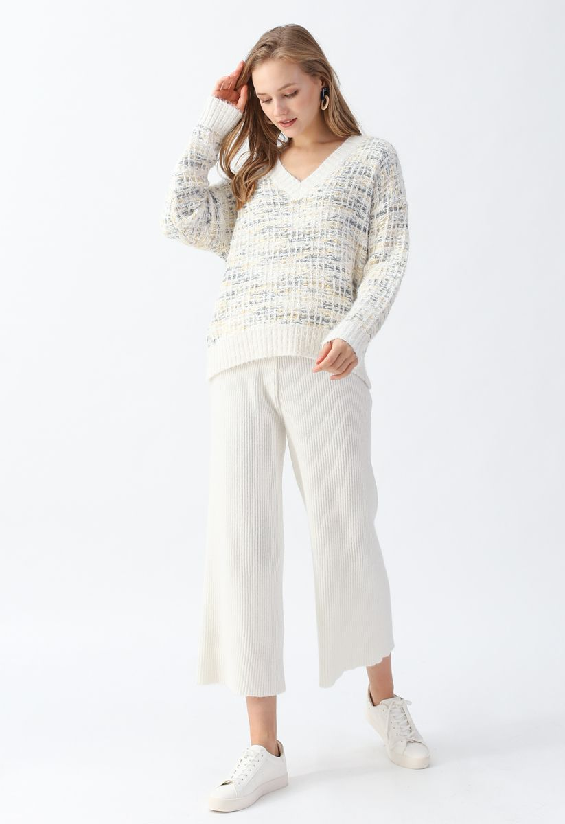 High-Waisted Wide-Leg Knit Pants in White