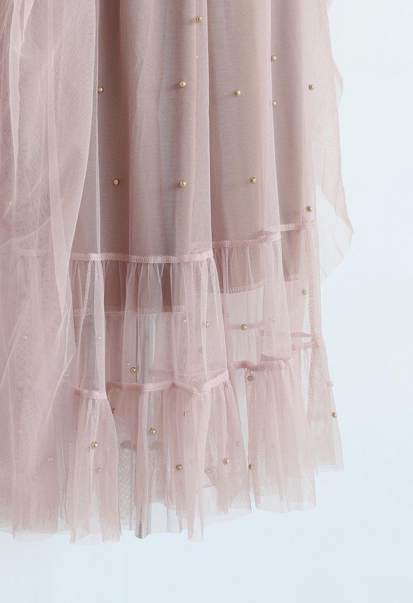Beads Embellishment Tulle Mesh Skirt in Pink