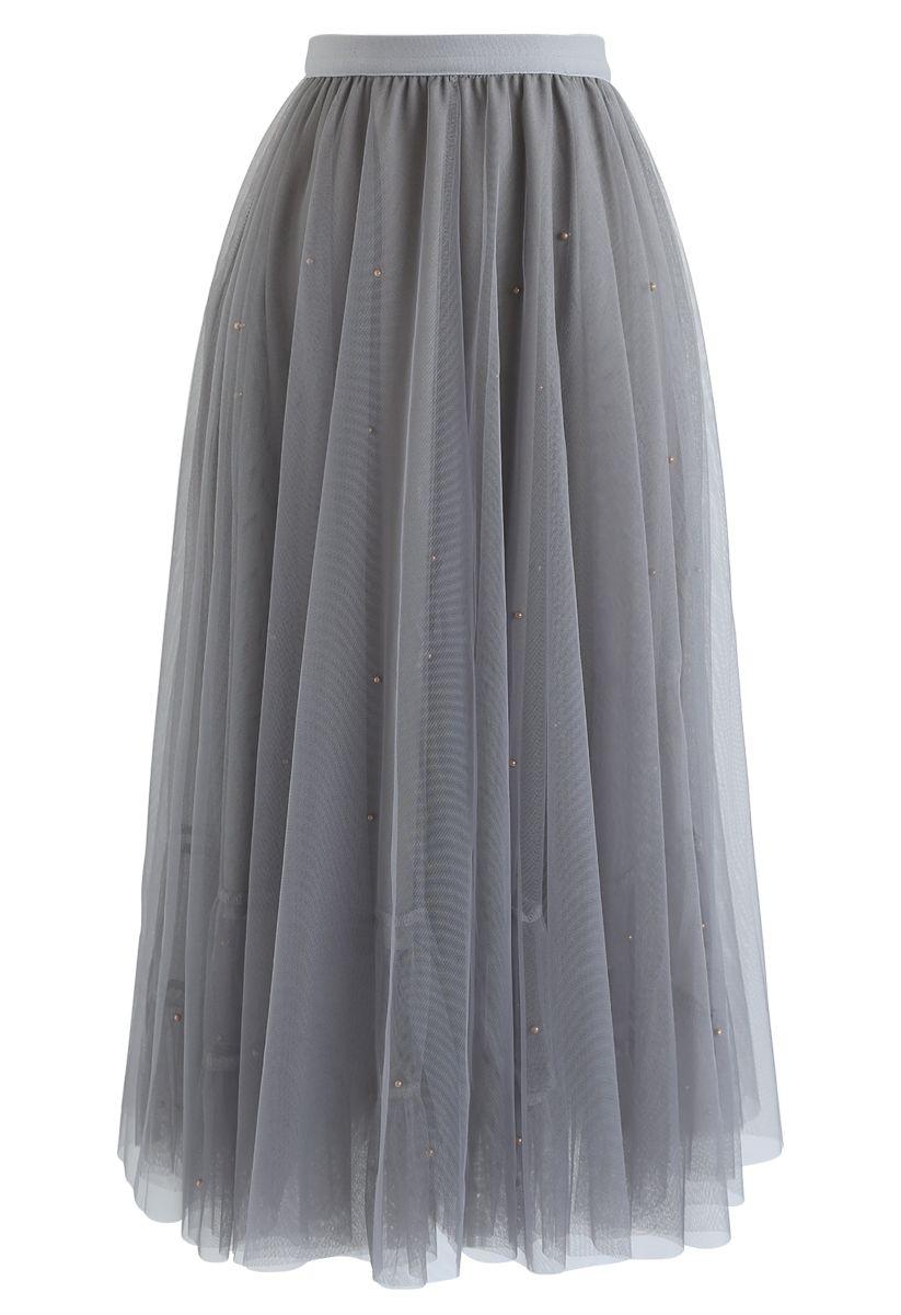 Beads Embellishment Tulle Mesh Skirt in Grey