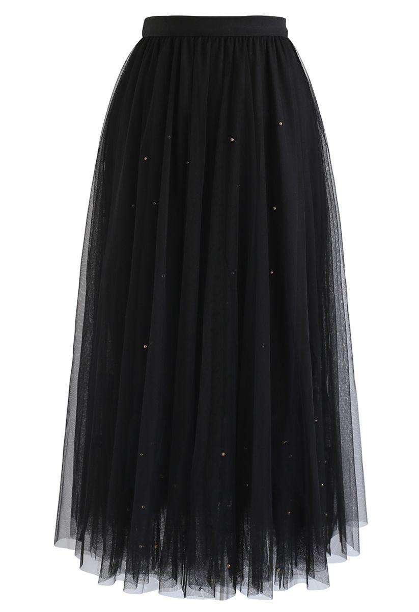 Beads Embellishment Tulle Mesh Skirt in Black