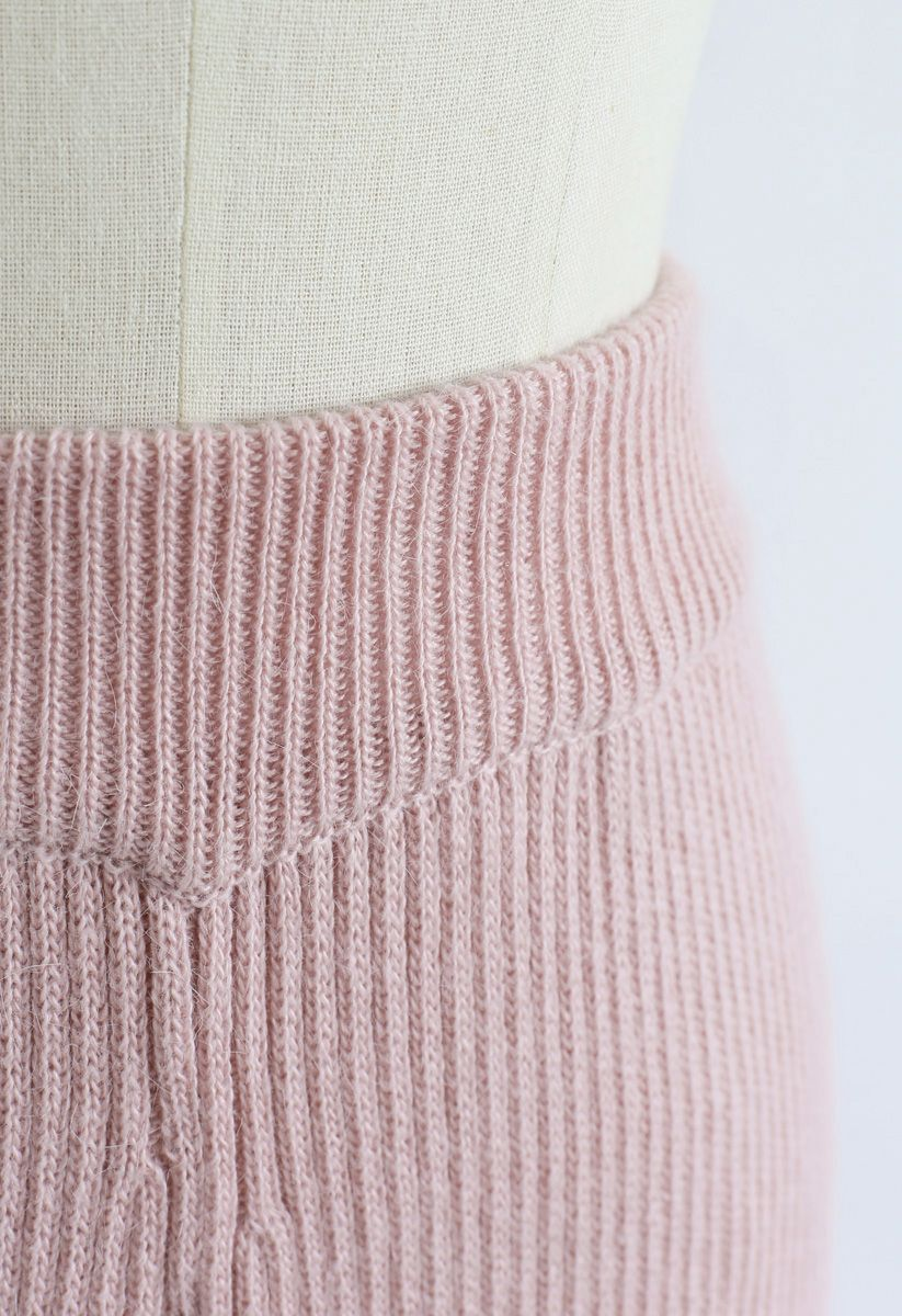 High-Waisted Wide-Leg Knit Pants in Pink