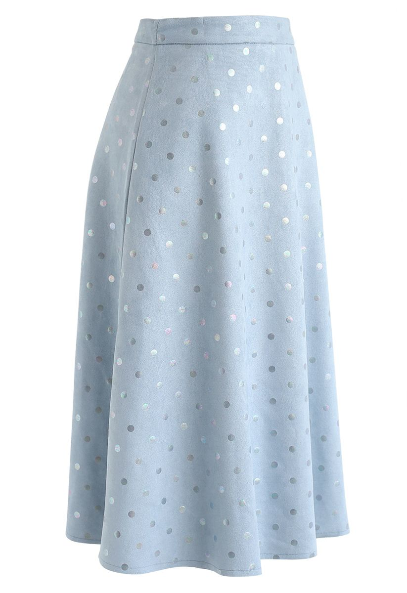 Shiny Polka Dots Faux Suede Midi Skirt in Blue