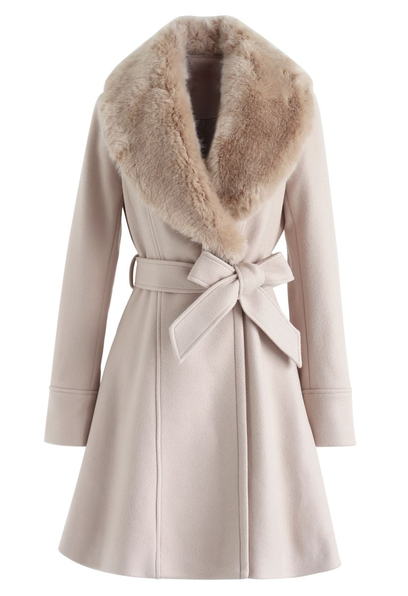 Faux Fur Collar Belted Flare Coat in Nude Pink