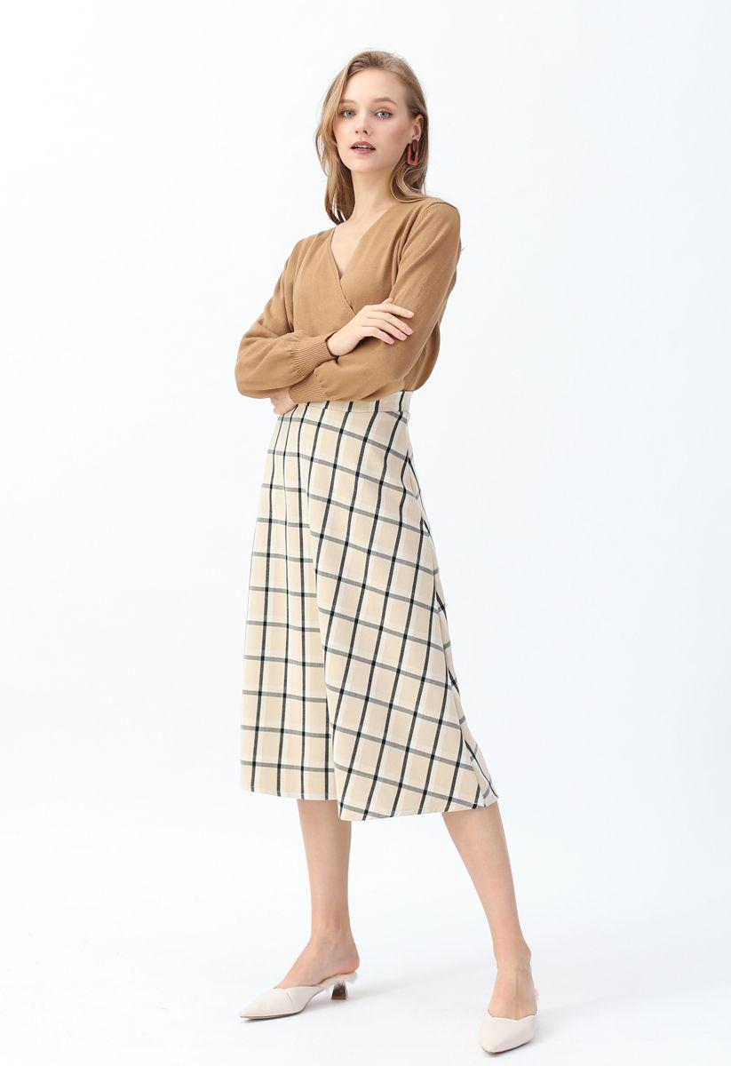 Grid A-Line Midi Skirt in Sand