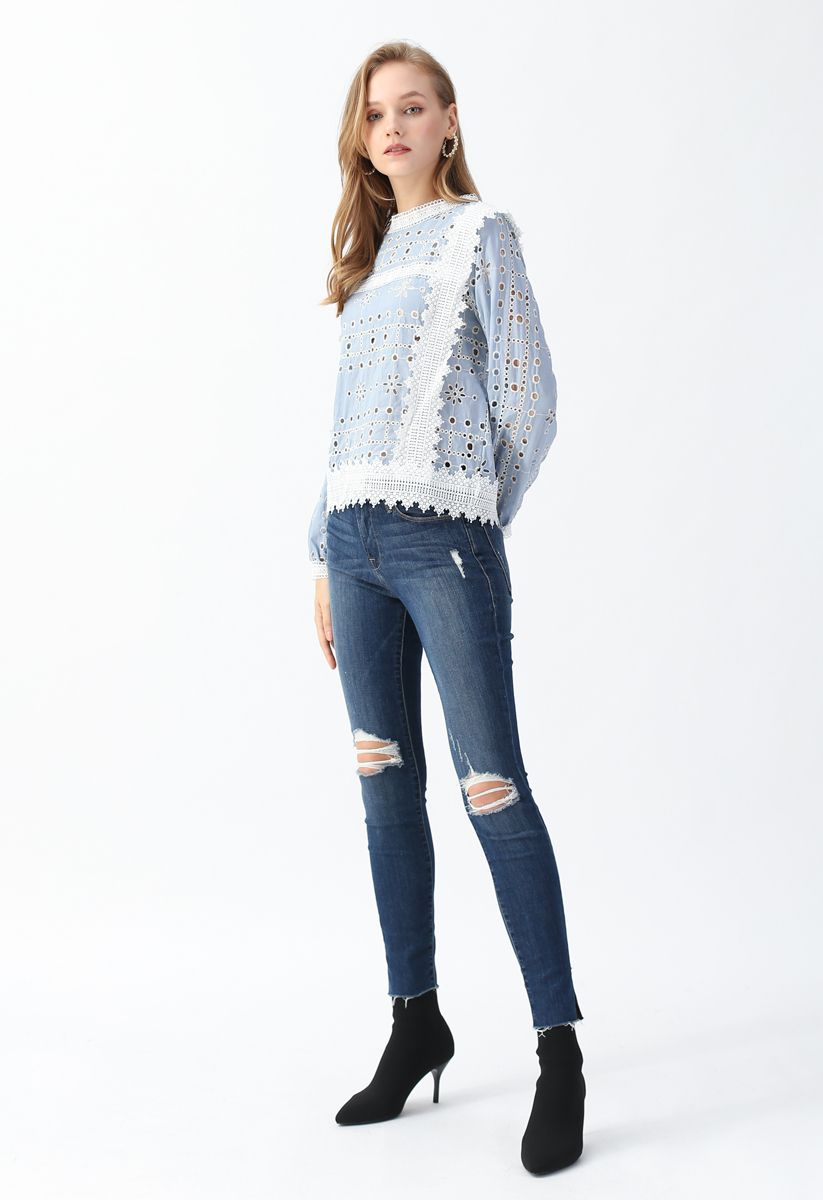 Embroidered Eyelet Crochet Trim Top in Blue