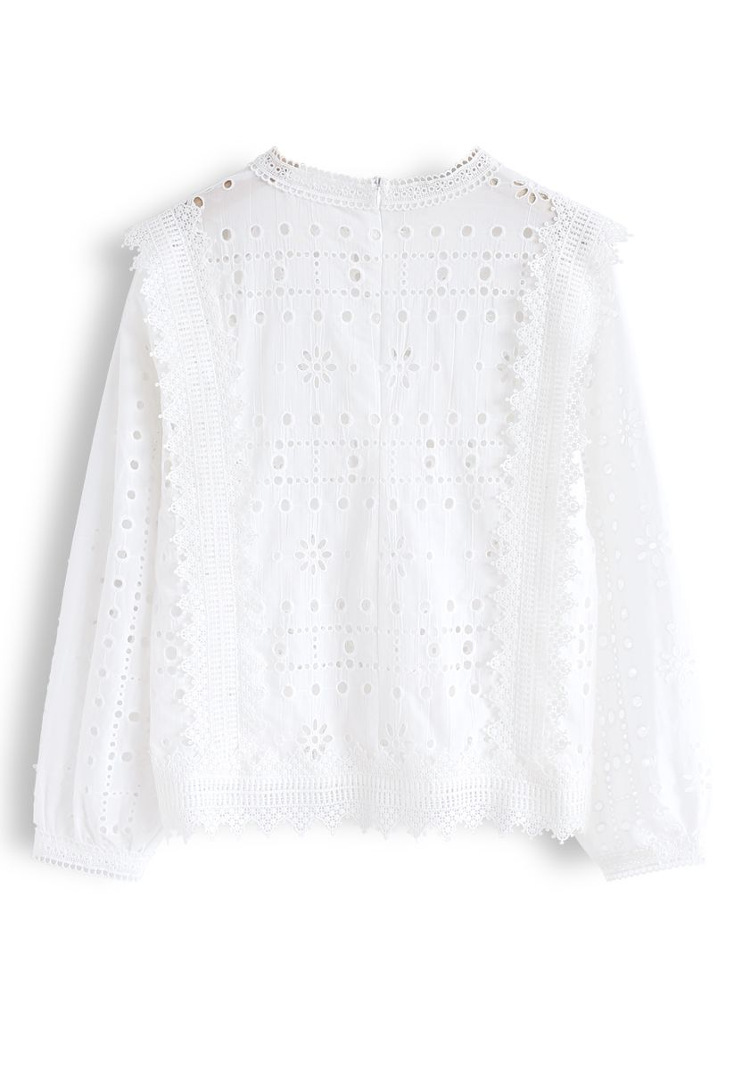 Embroidered Eyelet Crochet Trim Top in White